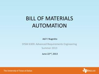 BILL OF MATERIALS AUTOMATION