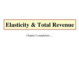 Elasticity & Total Revenue