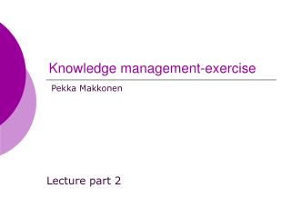 Knowledge management-exercise