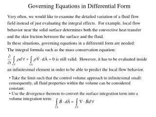Governing Equations in Differential Form