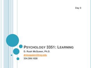 Psychology 3351: Learning