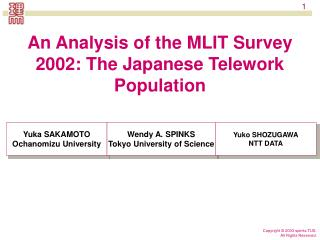 An Analysis of the MLIT Survey 2002: The Japanese Telework Population