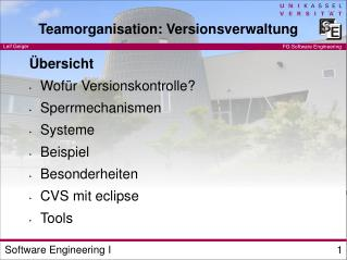 Teamorganisation: Versionsverwaltung