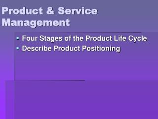 Product & Service Management