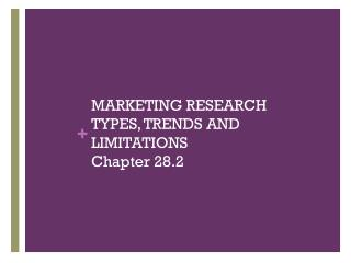 MARKETING RESEARCH TYPES, TRENDS AND LIMITATIONS  Chapter 28.2