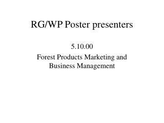 RG/WP Poster presenters