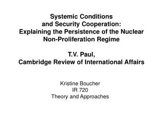 Kristine Boucher IR 720 Theory and Approaches