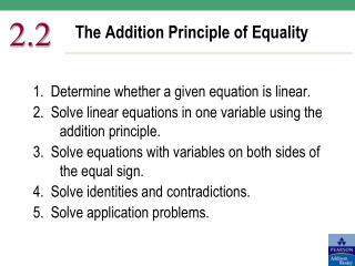 The Addition Principle of Equality