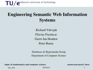 Engineering Semantic Web Information Systems