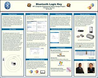 Bluetooth Login Key RIT Computer Engineering Senior Design Project Tim Wesley , Dan Chen
