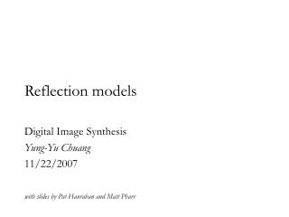 Reflection models