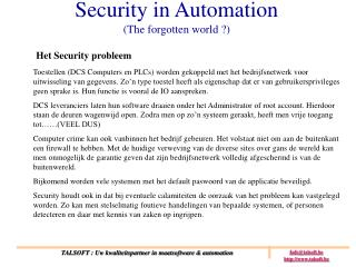 Security in Automation (The forgotten world ?)
