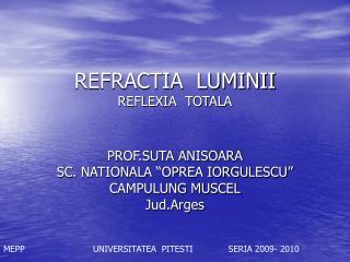 REFRACTIA  LUMINII REFLEXIA  TOTALA