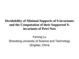 Faming Lu Shandong university of Science and Technology Qingdao, China