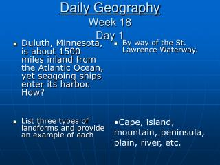 Daily Geography Week 18 Day 1