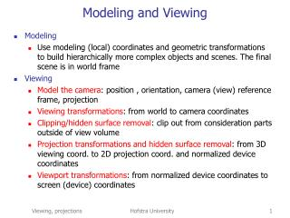 Modeling and Viewing