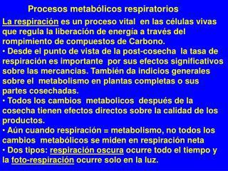 Procesos metab�licos respiratorios