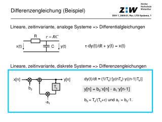Lineare, zeitinvariante, analoge Systeme => Differentialgleichungen