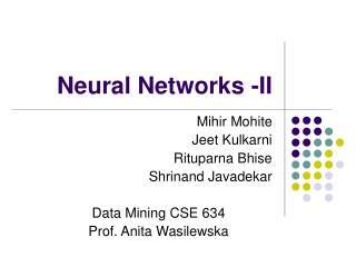 Neural Networks -II