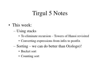 Tirgul 5 Notes