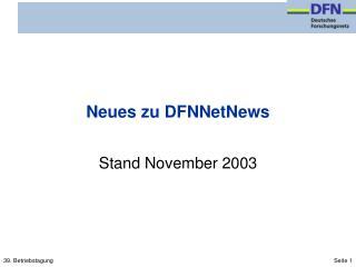 Neues zu DFNNetNews