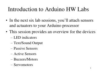 Introduction to Arduino HW Labs