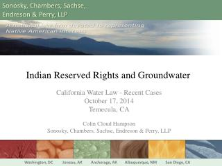 Indian Reserved Rights and Groundwater