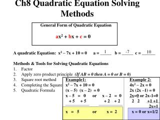 Ch8 Quadratic Equation Solving Methods