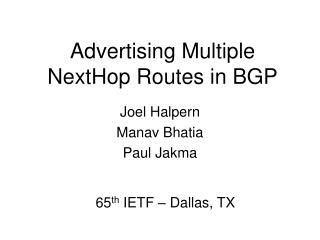 Advertising Multiple NextHop Routes in BGP