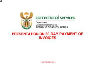 PRESENTATION ON  30 DAY PAYMENT OF INVOICES