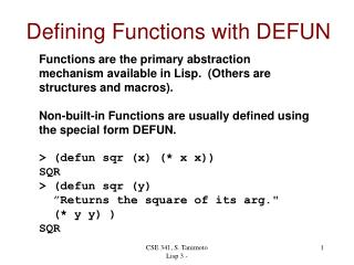 Defining Functions with DEFUN