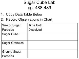 Sugar Cube Lab pg. 488-489