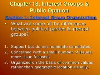 Chapter 18: Interest Groups & Public Opinion