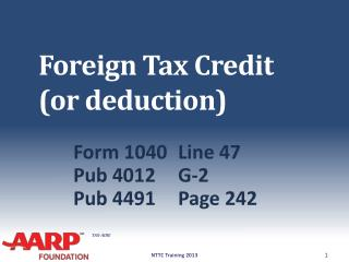 Foreign Tax Credit  (or deduction)