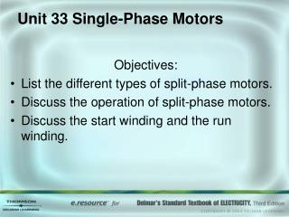 Unit 33 Single-Phase Motors