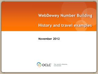 WebDewey  Number Building History and travel examples