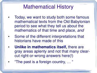 Mathematical History