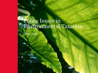 Policy Issues in Environmental Taxation