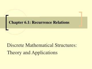 Chapter 6.1: Recurrence Relations
