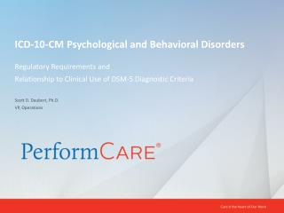 ICD-10-CM Psychological and Behavioral Disorders