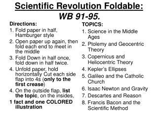 Scientific Revolution Foldable: WB 91-95.