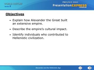 Explain how Alexander the Great built  an extensive empire. Describe the empire's cultural impact.