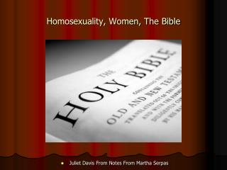 Homosexuality, Women, The Bible