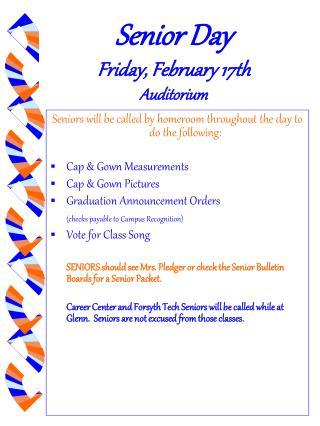 Senior Day Friday, February 17th   Auditorium