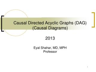 Causal Directed Acyclic Graphs (DAG) (Causal Diagrams) 2013 Eyal Shahar, MD, MPH Professor