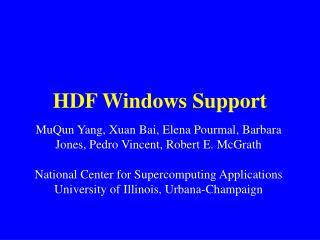 HDF Windows Support