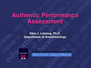 Authentic Performance Assessment