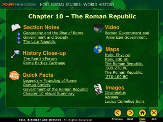 Chapter 10 � The Roman Republic
