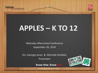 Nebraska Afterschool Conference September 26,  2014 Drs. Georgia Jones  &  Michelle Krehbiel,