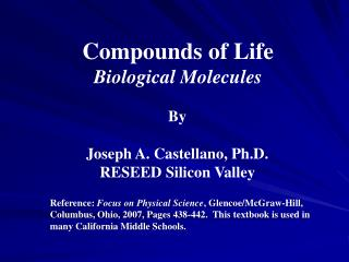 Compounds of Life Biological Molecules